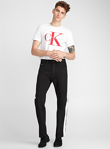 Contrast-band black jean <br>Straight fit
