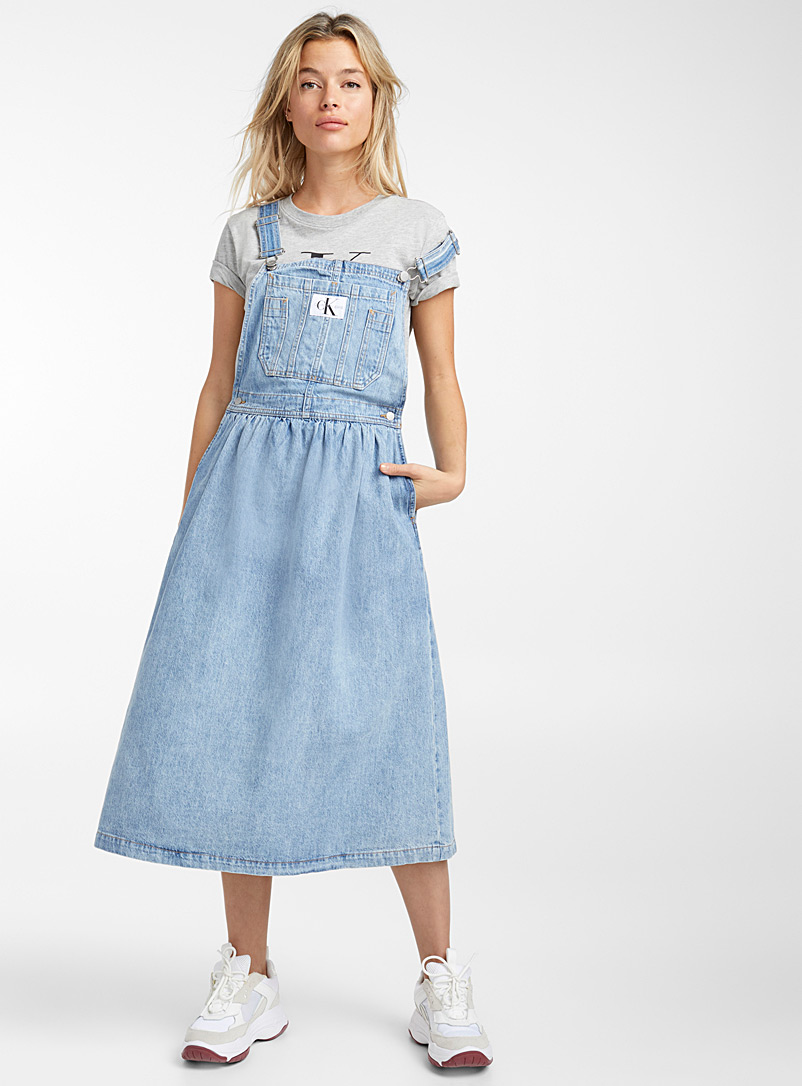 Faded denim apron dress - Fit & Flare - Blue