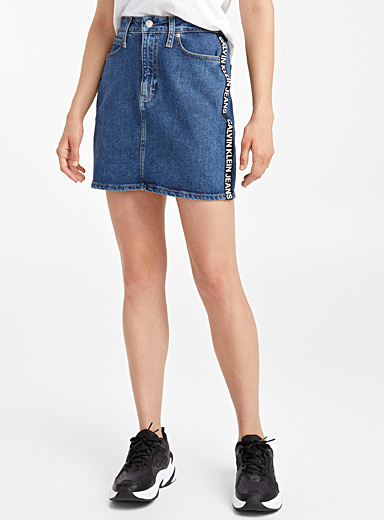 Logo band denim skirt