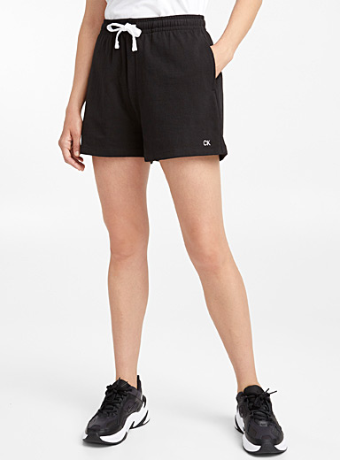 Embroidered initial jersey short