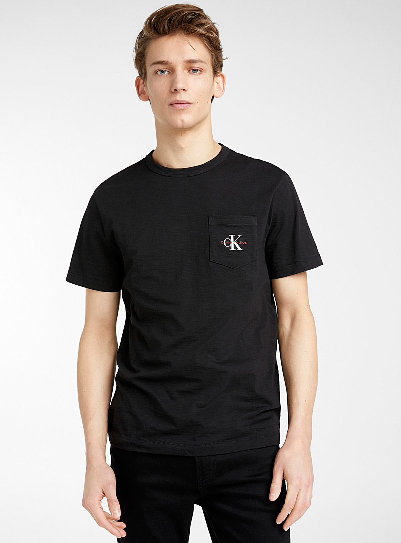 Calvin Klein Black Monogram pocket T-shirt for men