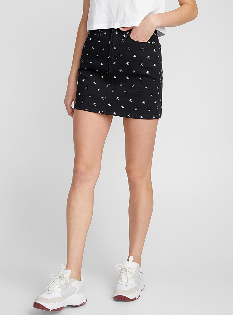Monogram high-waist miniskirt - Denim - Patterned Black