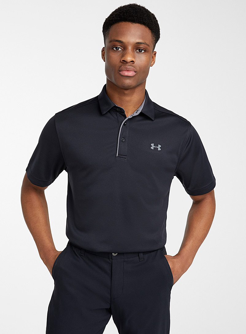 Under Armour Black Tech jacquard stripe polo for men