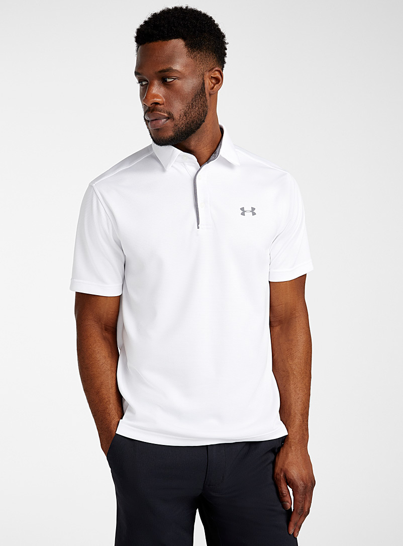 Under Armour White Tech jacquard stripe polo for men