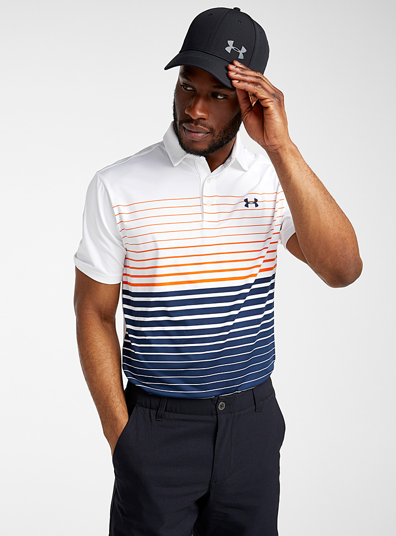 Under Armour Patterned White Playoff 2.0 striped polo for men