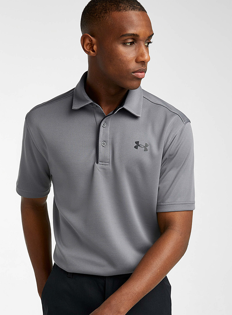 Under Armour Grey Tech jacquard stripe polo for men