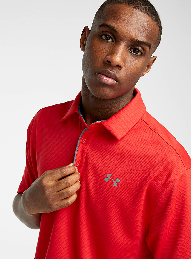 Under Armour Red Tech jacquard stripe polo for men
