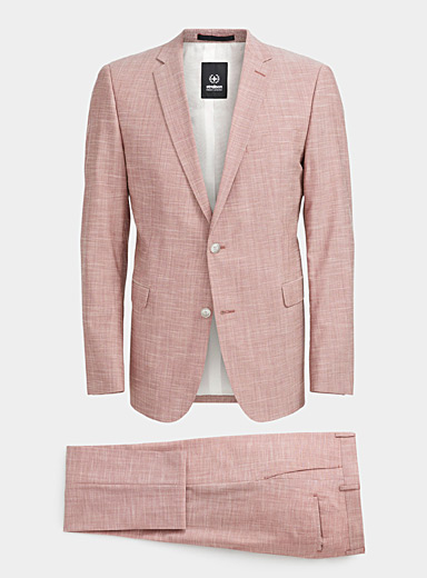 Strellson Cherry Red Cale-Madden chambray brick suit  Slim fit for men