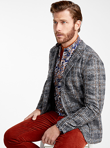 Felted check jacket  Slim fit
