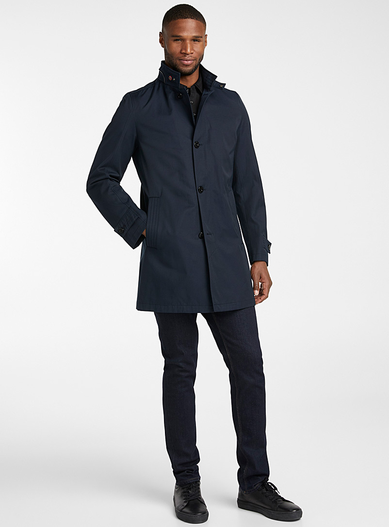 Strellson Marine Blue Richmond mock neck trench coat for men
