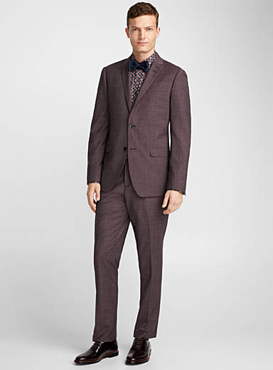 Plum houndstooth suit <br>London fit-Semi-slim