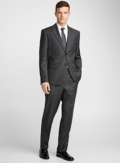 Charcoal traced check suit <br>Berlin fit - Regular