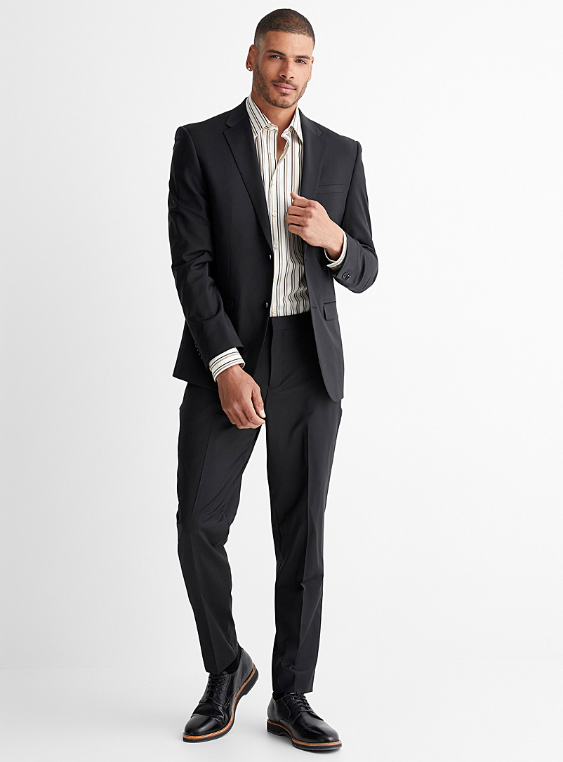 Le 31 Black Stretch wool suit  London fit-Semi-slim for men
