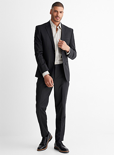 Stretch wool suit  London fit-Semi-slim