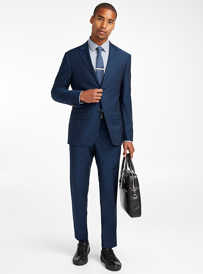 Blue moiré suit  London fit-Semi-slim - Semi-slim Fit - Slate Blue