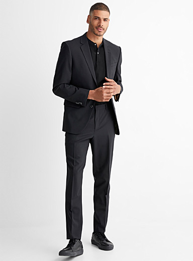 Le 31 Black Recycled polyester and wool Traveller suit  London fit-Semi-slim for men