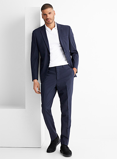 Le 31 Marine Blue Recycled polyester and wool Traveller suit  London fit-Semi-slim for men