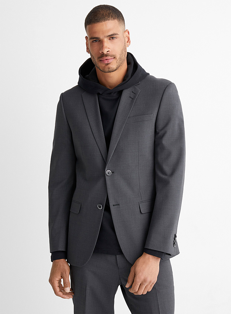 Le 31 Dark Grey Recycled polyester and wool suit London fit-Semi-slim for men