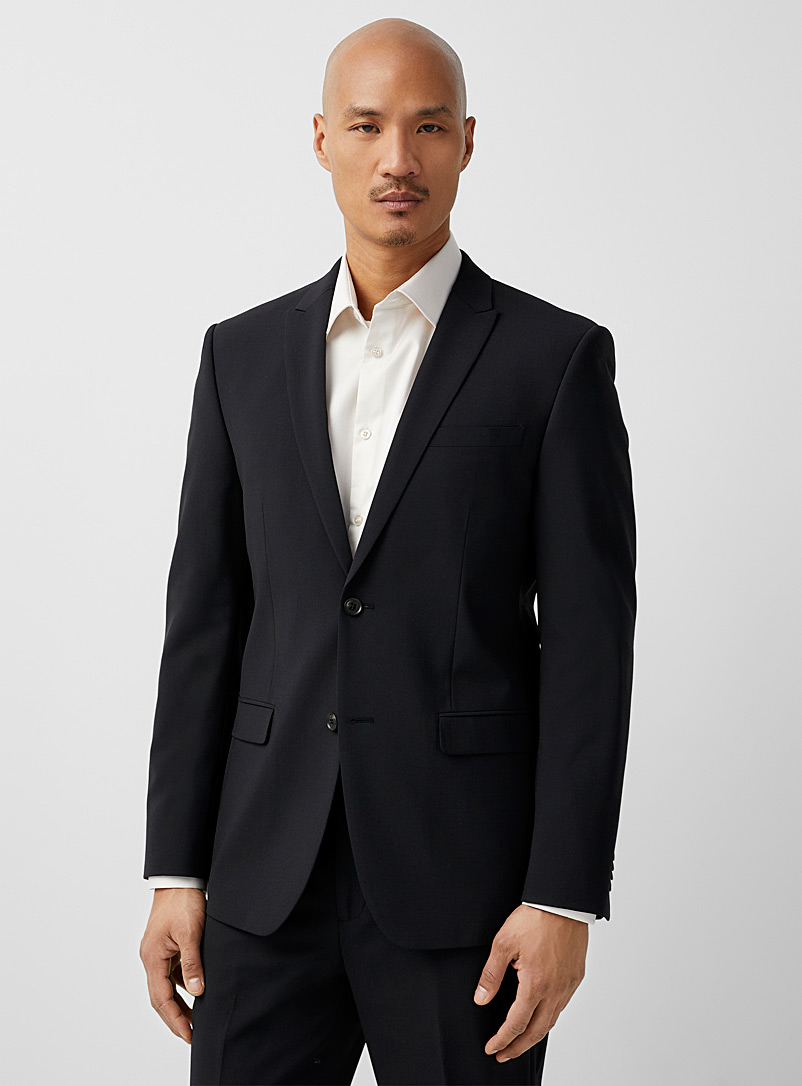 Recycled polyester and wool jacket  London fit - Semi-slim