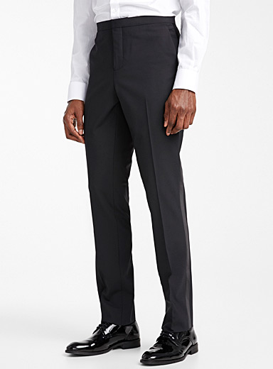 Le 31 Black Recycled polyester tuxedo pant  Stockholm fit-Slim for men