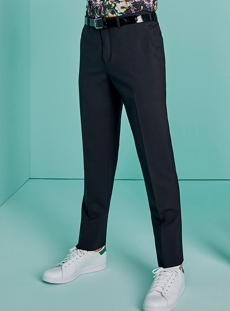 Le 31 Black Recycled polyester and wool eco pant London fit - Slim straight for men
