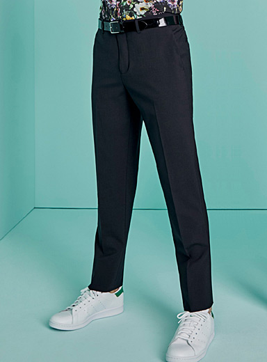 Le 31 Black Recycled polyester and wool eco pant  London fit-Slim straight for men