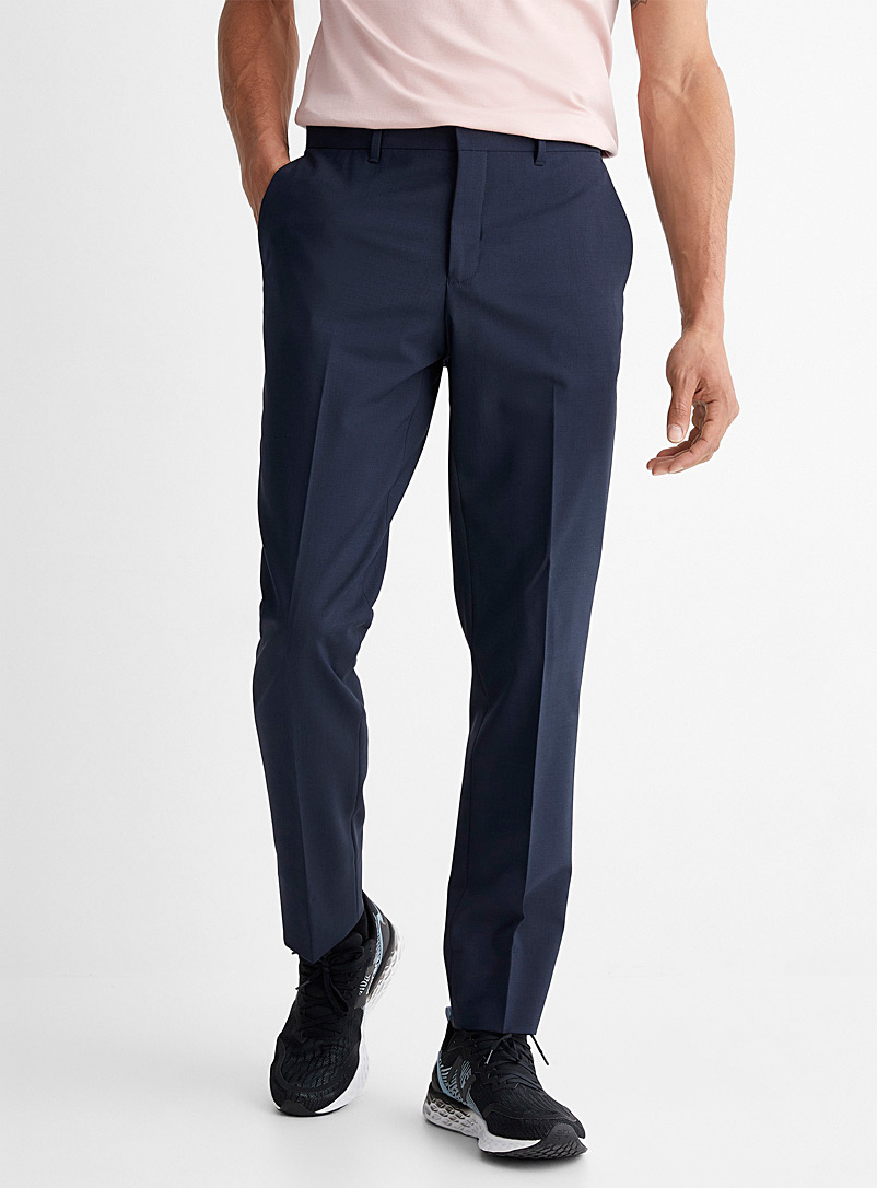 Le 31 Marine Blue Recycled polyester and wool eco pant  London fit-Slim straight for men