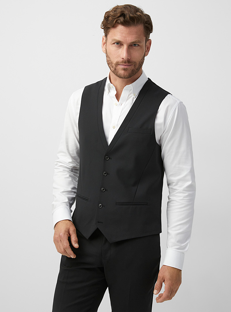 Le 31 Black Wool and recycled polyester vest  London fit - Semi-slim for men