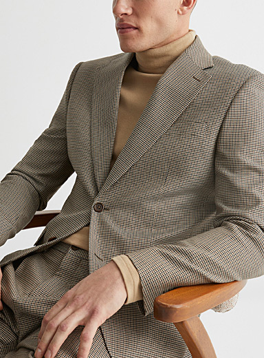 Natural shades houndstooth jacket  Stockholm fit - Slim