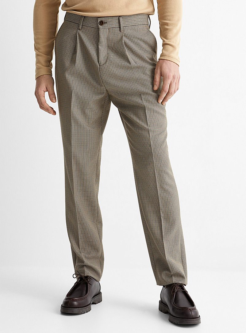 Le 31 Patterned Green Natural tone houndstooth pleated pant Reykjavik fit-Anti-fit for men