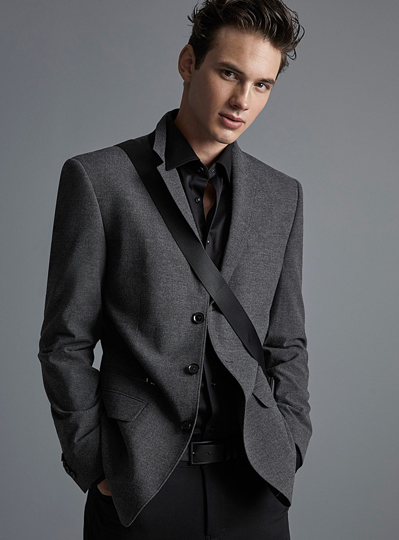 Le 31 Charcoal Stretch chambray jacket  London fit - Semi-slim for men