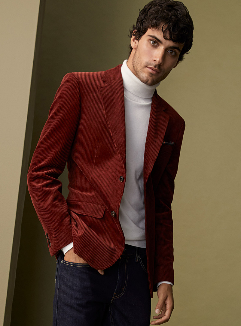 Le 31 Ruby Red Eco-friendly corduroy jacket  London fit - Semi-slim for men