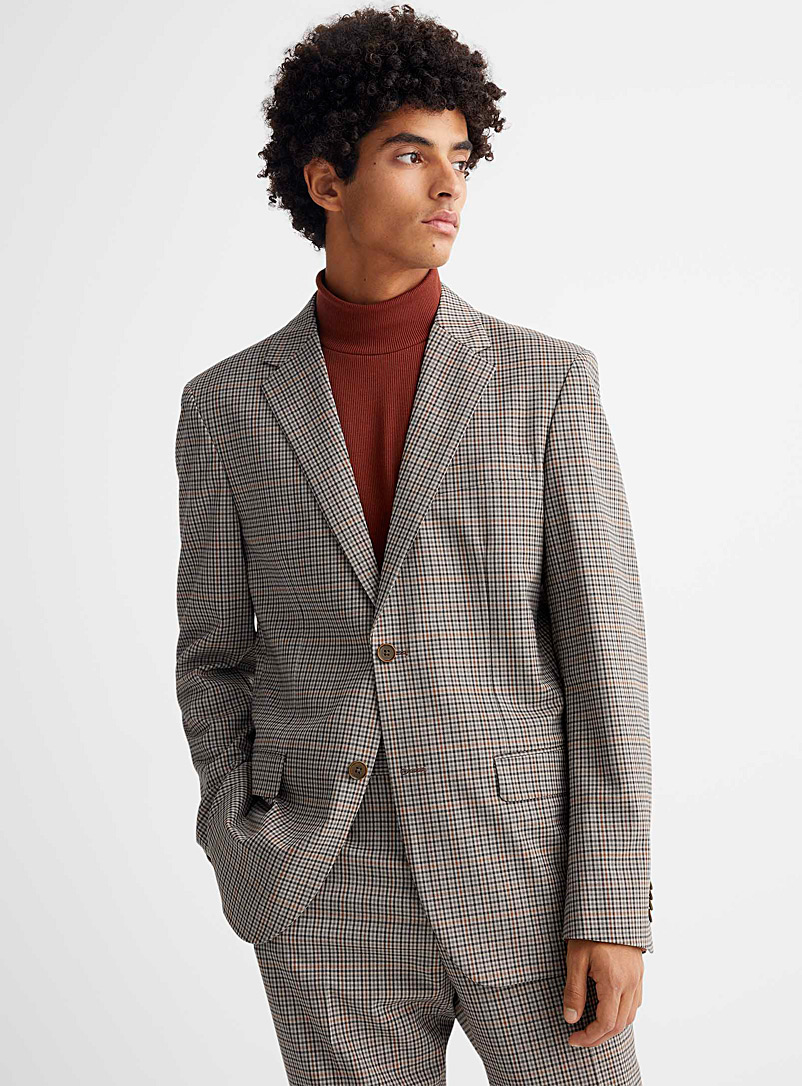 Le 31 Light Brown Marzotto twill gingham jacket London fit-Semi-slim for men