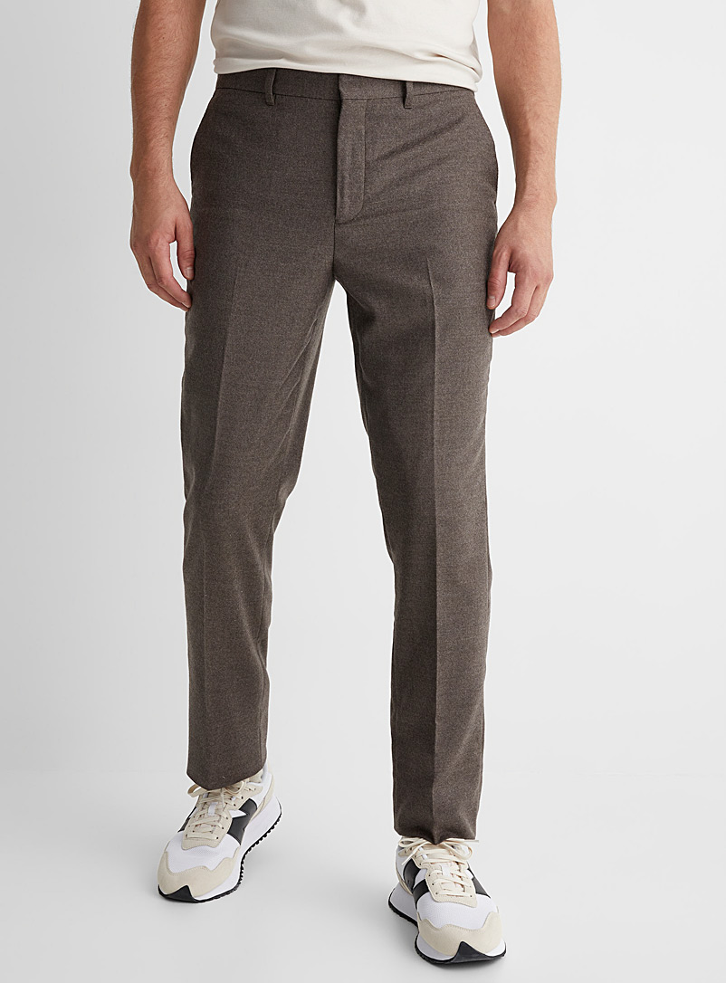 Le 31 Light Brown Marzotto felted pant London fit - Slim straight for men