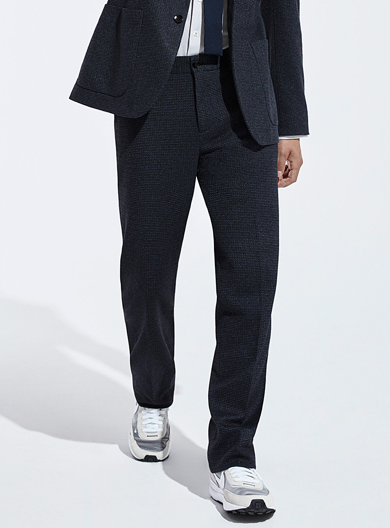 Le 31 Marine Blue Stretch knit Innovation pant London fit - Slim straight for men