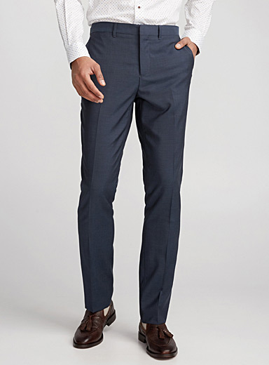 Le pantalon laine Marzotto chambray <br>Coupe London - Étroite