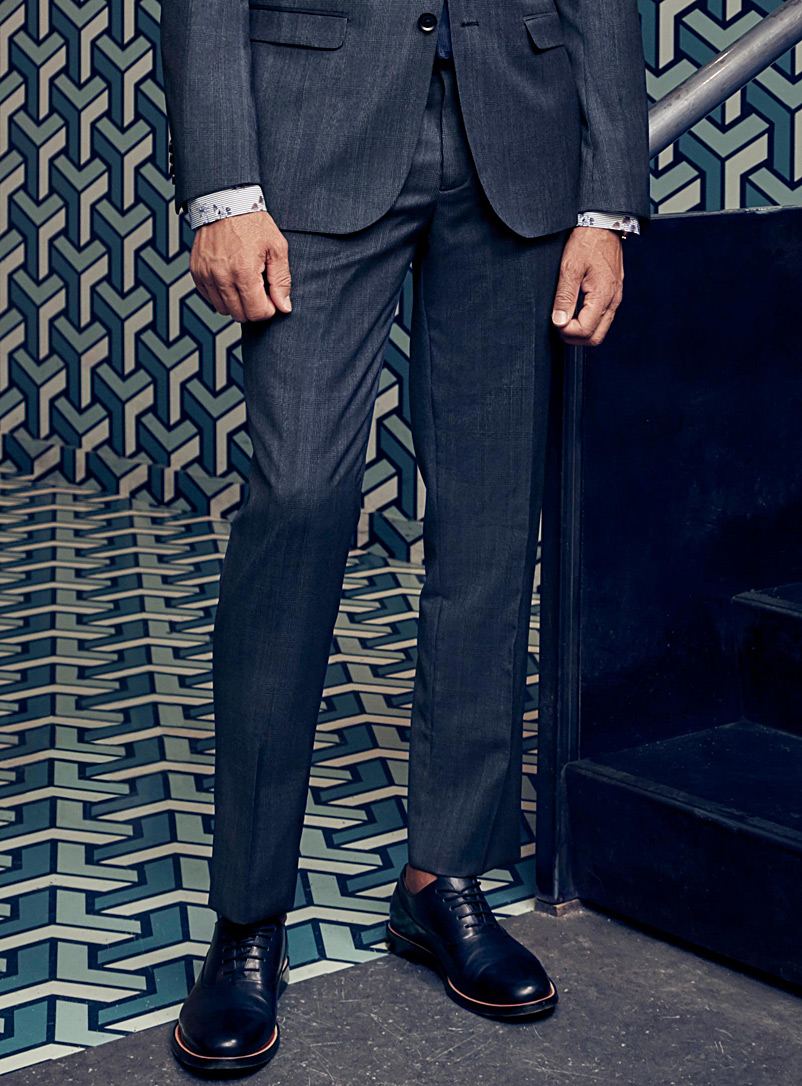Chambray check pant  London fit-Slim straight   - Suit Separates - Blue