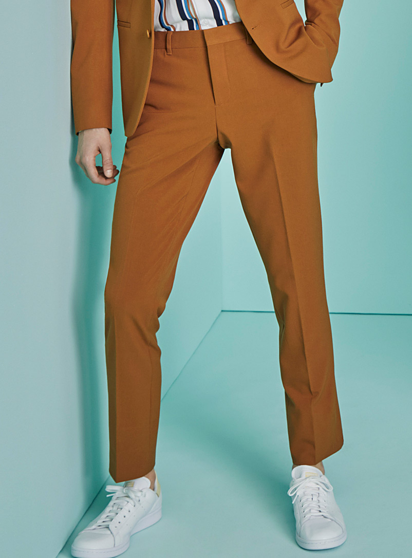 Le 31 Dark Yellow Solid retro pant  Stockholm fit - Slim for men