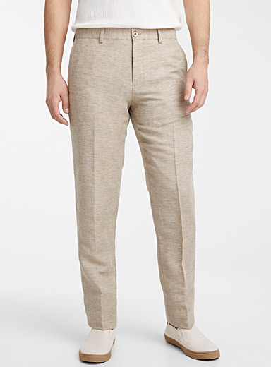 Le 31 Cream Beige Linen and wool pant  London fit - Slim straight for men