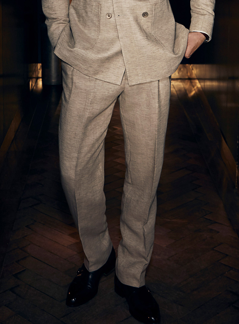 Le 31 Cream Beige Marzotto linen and wool pleated pant  Straight fit for men