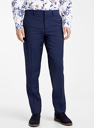 Le 31 Dark Blue Dark chambray Marzotto wool pant  Berlin fit-Straight for men