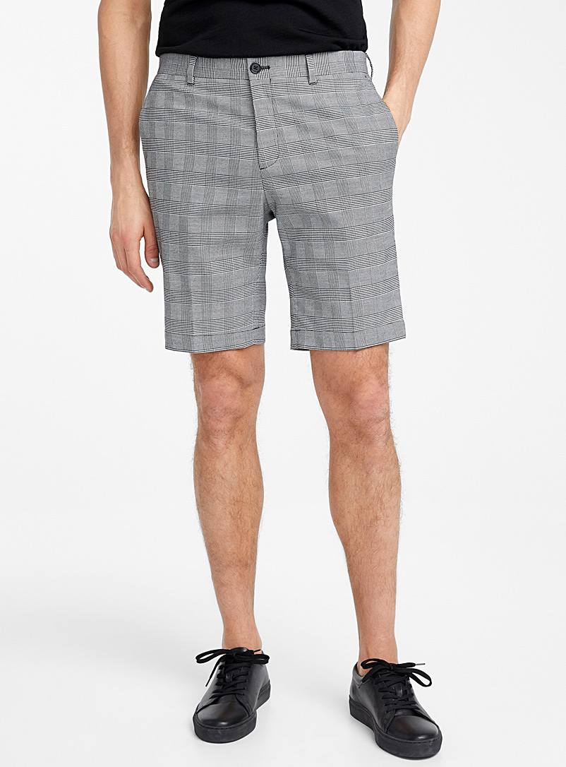 Le 31 Black and White Prince of Wales Bermudas for men