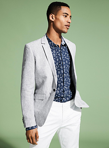 Pure linen striped jacket  London fit - Semi-slim
