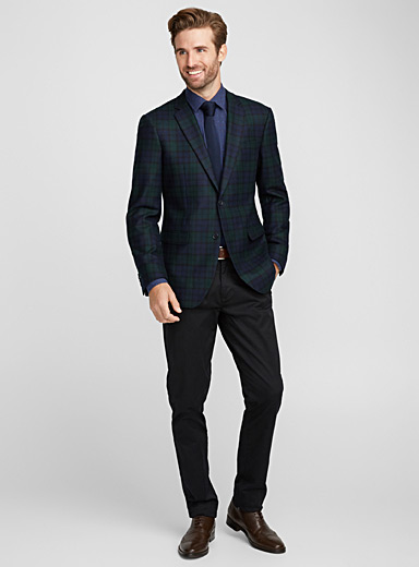 Cashmere and wool tartan jacket <br>London fit-Semi-slim