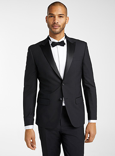 Le 31 Black Satin-lapel tuxedo jacket  Stockholm fit - Slim for men