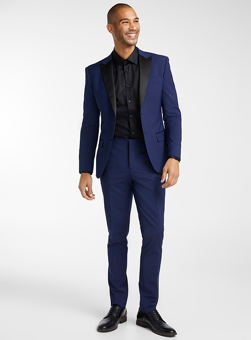 Le 31 Blue Satin-lapel tuxedo jacket  Stockholm fit - Slim for men
