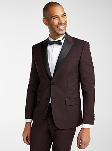 Le 31 Cherry Red Satin-lapel tuxedo jacket  Stockholm fit - Slim for men