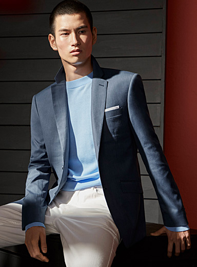 Steel blue oxford jacket  Stockholm fit-Slim