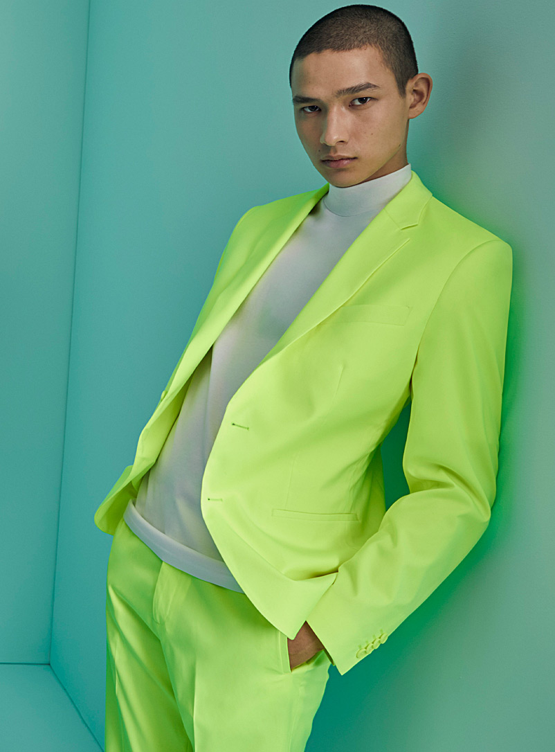 Le 31 Bright Yellow Solar neon jacket  Stockholm fit - Slim for men