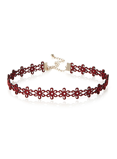 Ruby flowers choker